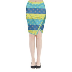 Hexagon And Stripes Pattern Midi Wrap Pencil Skirt