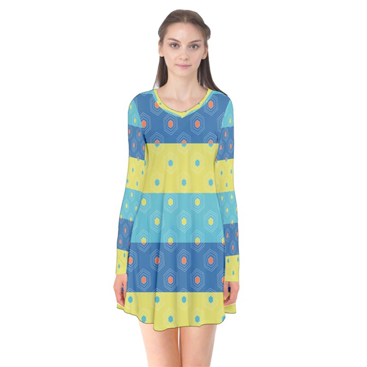 Hexagon And Stripes Pattern Flare Dress