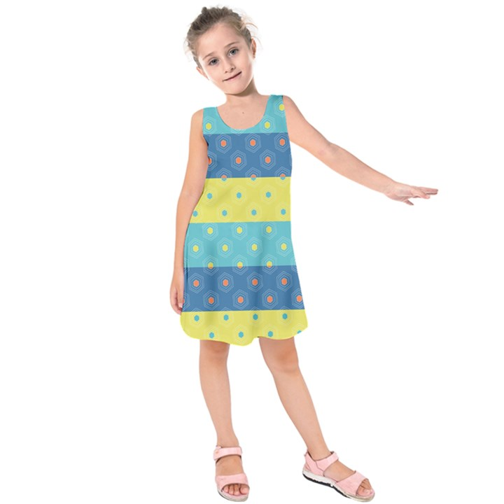 Hexagon And Stripes Pattern Kids  Sleeveless Dress