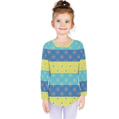 Hexagon And Stripes Pattern Kids  Long Sleeve Tee