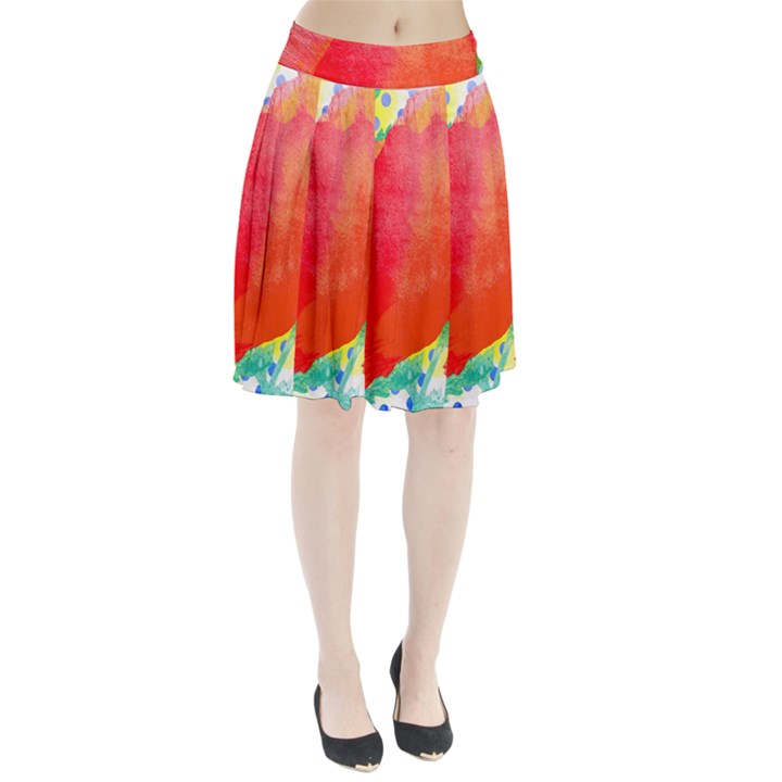 Lovely Red Poppy And Blue Dots Pleated Skirt