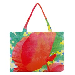 Lovely Red Poppy And Blue Dots Medium Tote Bag