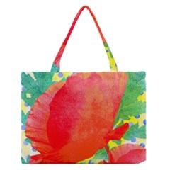 Lovely Red Poppy And Blue Dots Medium Zipper Tote Bag