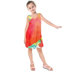 Lovely Red Poppy And Blue Dots Kids  Sleeveless Dress