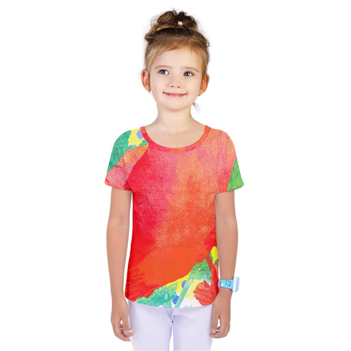 Lovely Red Poppy And Blue Dots Kids  One Piece Tee