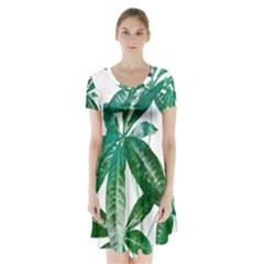 Pachira Leaves  Short Sleeve V Neck Flare Dress