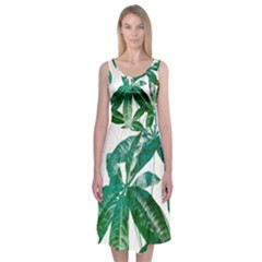 Pachira Leaves  Midi Sleeveless Dress