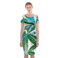 Pachira Leaves  Classic Short Sleeve Midi Dress