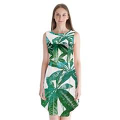 Pachira Leaves  Sleeveless Chiffon Dress
