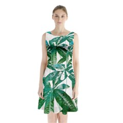 Pachira Leaves  Sleeveless Chiffon Waist Tie Dress