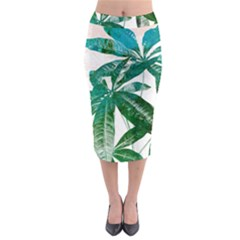 Pachira Leaves  Midi Pencil Skirt