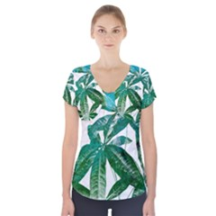 Pachira Leaves  Short Sleeve Front Detail Top