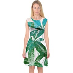 Pachira Leaves  Capsleeve Midi Dress