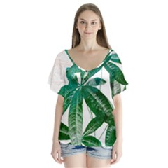 Pachira Leaves  Flutter Sleeve Top