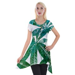 Pachira Leaves  Short Sleeve Side Drop Tunic