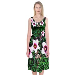 Pink Flowers Over A Green Grass Midi Sleeveless Dress