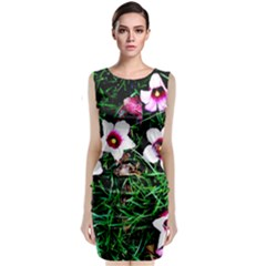 Pink Flowers Over A Green Grass Classic Sleeveless Midi Dress