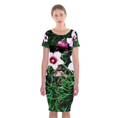 Pink Flowers Over A Green Grass Classic Short Sleeve Midi Dress