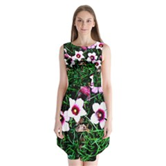 Pink Flowers Over A Green Grass Sleeveless Chiffon Dress