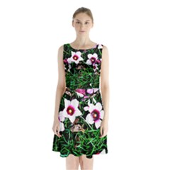 Pink Flowers Over A Green Grass Sleeveless Chiffon Waist Tie Dress