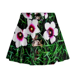 Pink Flowers Over A Green Grass Mini Flare Skirt
