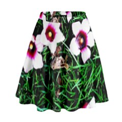 Pink Flowers Over A Green Grass High Waist Skirt