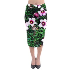 Pink Flowers Over A Green Grass Midi Pencil Skirt
