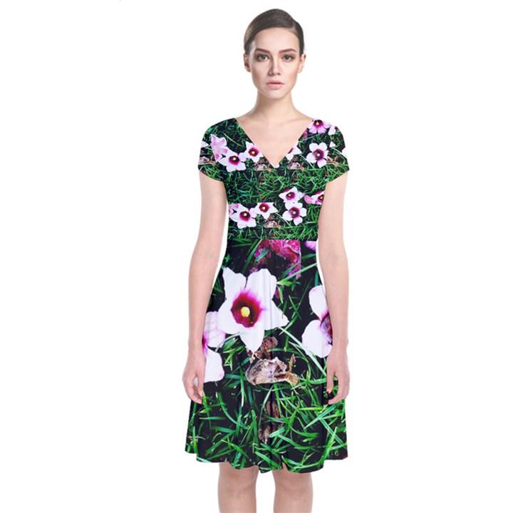 Pink Flowers Over A Green Grass Short Sleeve Front Wrap Dress