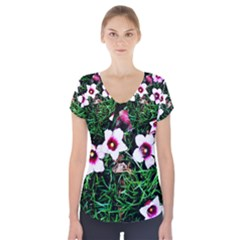 Pink Flowers Over A Green Grass Short Sleeve Front Detail Top