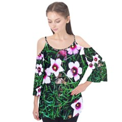 Pink Flowers Over A Green Grass Flutter Tees