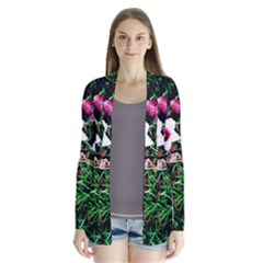 Pink Flowers Over A Green Grass Cardigans