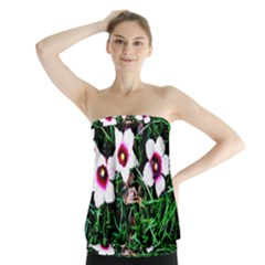 Pink Flowers Over A Green Grass Strapless Top