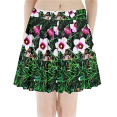 Pink Flowers Over A Green Grass Pleated Mini Skirt