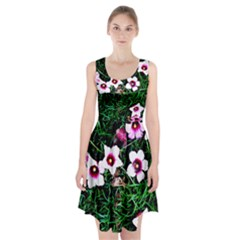 Pink Flowers Over A Green Grass Racerback Midi Dress