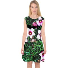Pink Flowers Over A Green Grass Capsleeve Midi Dress