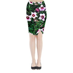 Pink Flowers Over A Green Grass Midi Wrap Pencil Skirt