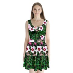 Pink Flowers Over A Green Grass Split Back Mini Dress
