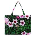 Pink Flowers Over A Green Grass Medium Tote Bag View1