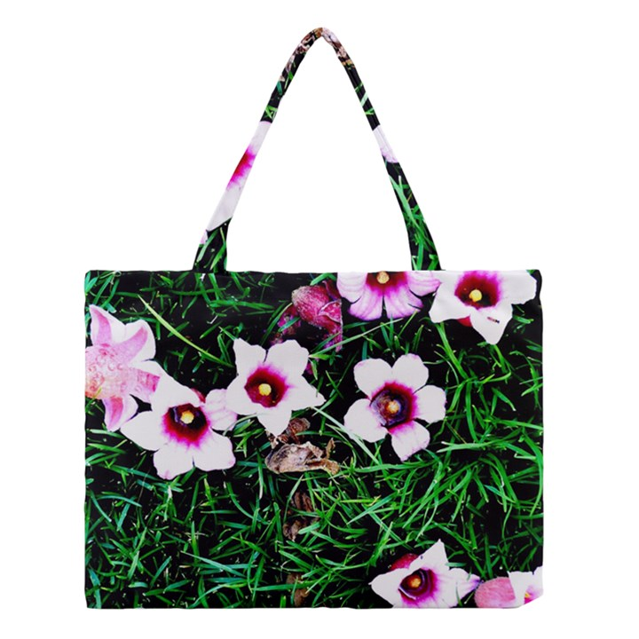Pink Flowers Over A Green Grass Medium Tote Bag