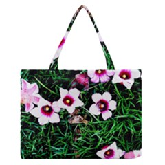 Pink Flowers Over A Green Grass Medium Zipper Tote Bag
