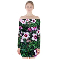 Pink Flowers Over A Green Grass Long Sleeve Off Shoulder Dress