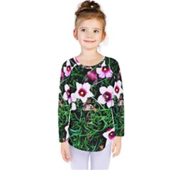 Pink Flowers Over A Green Grass Kids  Long Sleeve Tee