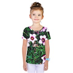 Pink Flowers Over A Green Grass Kids  One Piece Tee