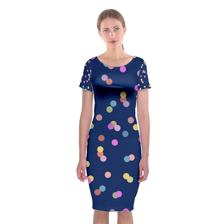 Playful Confetti Classic Short Sleeve Midi Dress