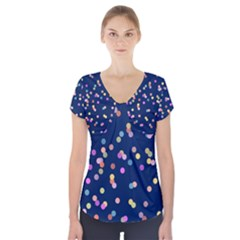 Playful Confetti Short Sleeve Front Detail Top