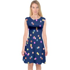 Playful Confetti Capsleeve Midi Dress