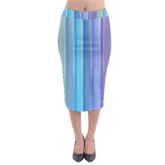 Provence Fields Lavender Pattern Midi Pencil Skirt