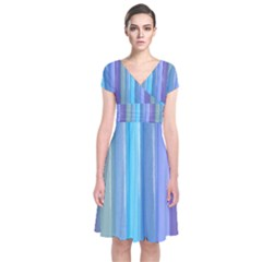Provence Fields Lavender Pattern Short Sleeve Front Wrap Dress