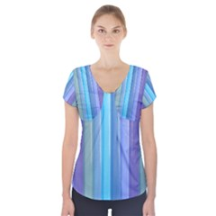 Provence Fields Lavender Pattern Short Sleeve Front Detail Top