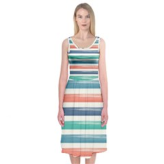 Summer Mood Striped Pattern Midi Sleeveless Dress